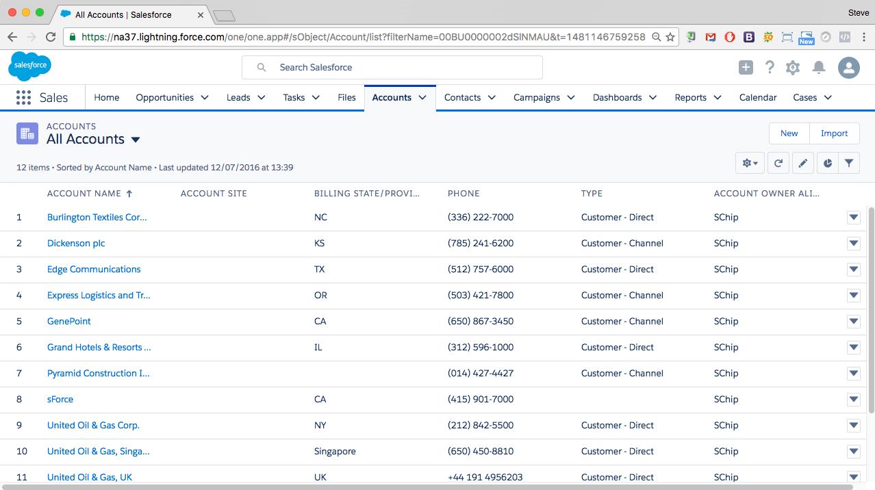 Salesforce Lightning Account List
