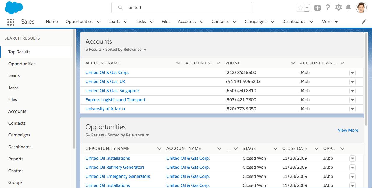 Salesforce Lightning Search